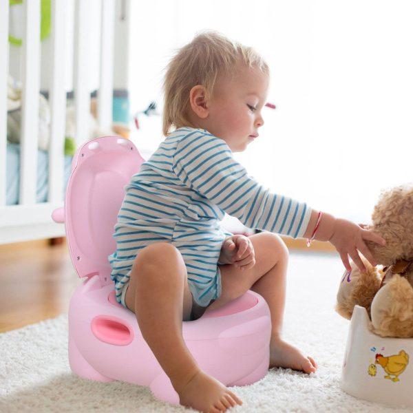 Toalete infantil Mictório removível com forma de hipopótamo com alças Toalete rosa 40x30x23 cm