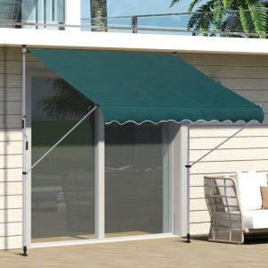Toldo Ajustável para Portas ou Janelas Pernas Telescópicas 200x150cm Verde