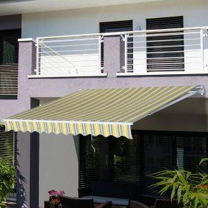 Toldo Manual Dobrável de Alumínio com Manivela Impermeável Proteção Solar UV Alumínio Aço Tecido de Poliéster Amarelo e Cinza-3.5x2.5m