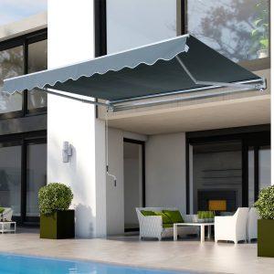 Toldo Manual Dobrável de Alumínio com Manivela Impermeável Proteção Solar UV Alumínio Aço Tecido de Poliéster Cinza-3.5x2.5m