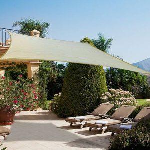 Toldo Vela 3x4m Cor Creme Pára-Sol Parasol Quadrado Terraço Jardim Camping