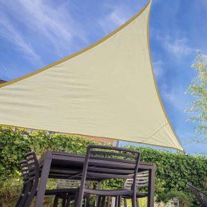 Toldo Vela 6 x 6 x 6 m Triângulo Cor: Creme Guarda-sol Varanda Jardim Campismo