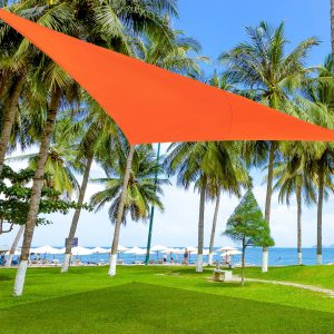 Toldo Vela Triângulo tipo Guarda-sol para Varanda Jardim ou Campismo-Cor: Laranja-Polietileno-4 x 4 x 4 m