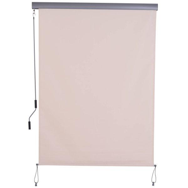 Toldo ao ar livre vertical com manivela 140 x 250 cm Cor branca creme