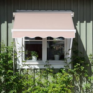 Toldo com inclinação ajustável para portas ou janelas 120x70cm bege