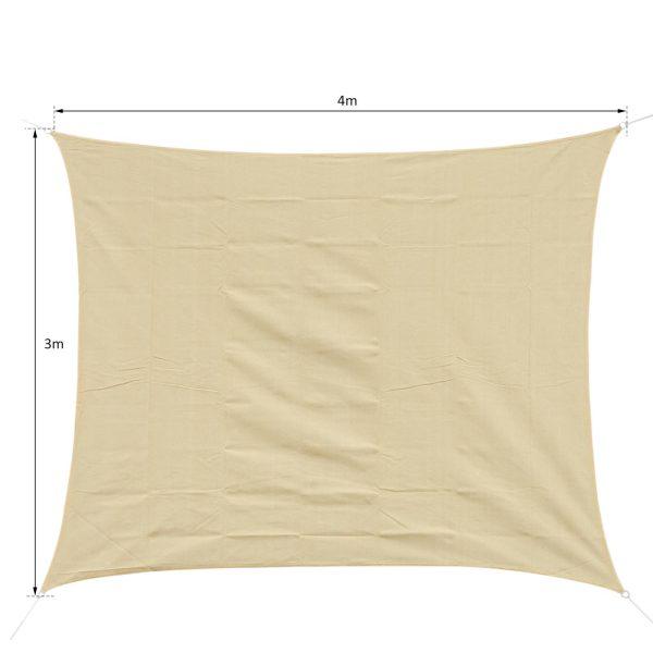 Toldo vela3x4m areia de cor quadrada guarda-sol Terraço jardim Camping