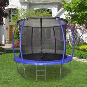 Trampolim ao ar livre para adultos e crianças 244cm de diâmetro Carga de 100kg Azul