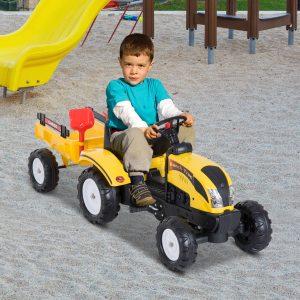 Trator de Pedais com Atrelado para Crianças De 3-6 Anos Brinquedo de Montar Carro de Pedais Carga 35kg 123x42x51 cm Aço e Plástico