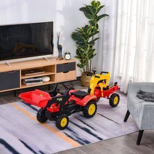 Trator de pedais para crianças acima de 3 anos com reboque e pá frontal 179x42x59 cm Vermelho