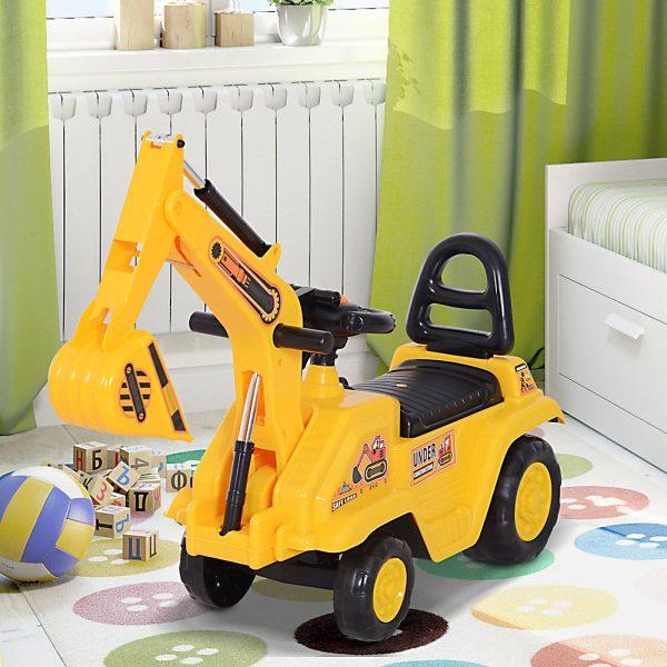Trator para crianças Aprendendo a andar com 3 funções Caminhão de construção Escavadeira Adequado para crianças acima de 18 meses