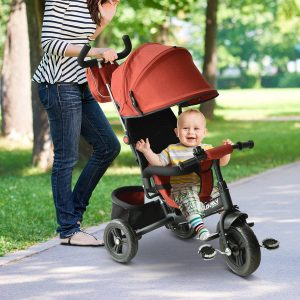 Triciclo 3 EM 1 para Crianças +18 Meses Vermelho 96x53.5x101cm