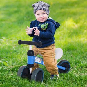 Triciclo bicicleta sem pedais para crianças acima de 18 meses Azul 47x19x35cm