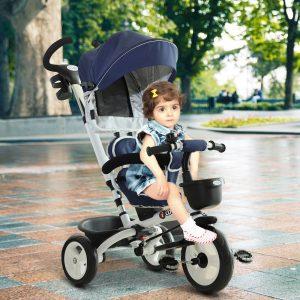 Triciclo de Bebé 4 em 1 para Crianças +18 Meses Assento Giratório Capota Barra Desmontável