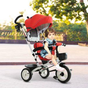 Triciclo de bebê 4 em 1 Trolley Trike Bicicletas para Crianças + 18 meses Evolutivo Giratório Capa Barra destacável Vermelho