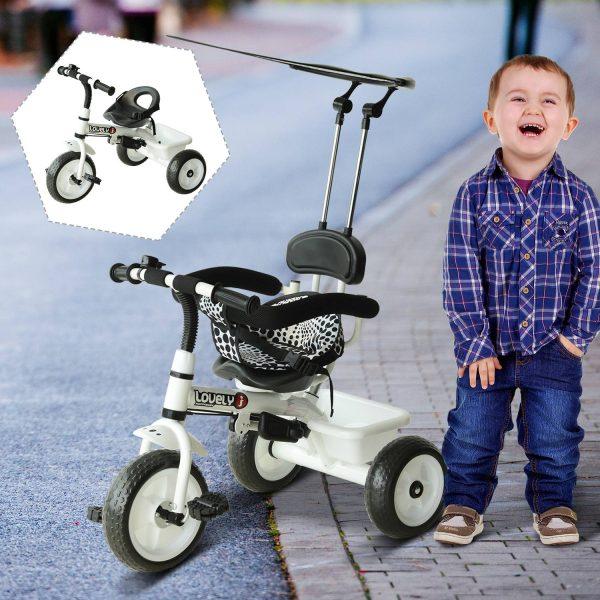 Triciclo infantil com Capota – Cor: Branco – Ferro