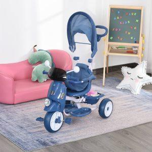 Triciclo infantil com toldo Barreira Apoio para os pés Luz e Música 93x51x94 cm Azul