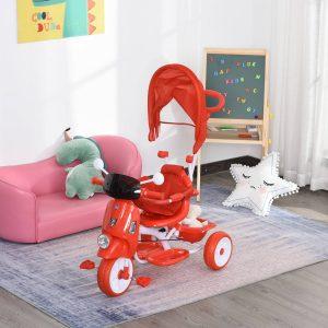 Triciclo infantil com toldo Barreira Apoio para os pés Luz e Música 93x51x94 cm Vermelho
