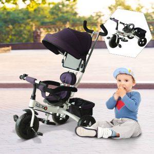 Triciclo para Crianças com Capota– Cor: Roxo e Branco– Ferro