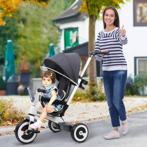 Triciclo para bebê 4 em 1 Trolley Trike Bicicletas para crianças + 18 meses evolutivo Capuz de barra destacável cinza