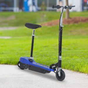 Trotinete Eléctrica Dobrável E-Scooter Bateria 120 W Guiador Assento Ajustável Travão Pé de apoio Azul 78x40x96 cm