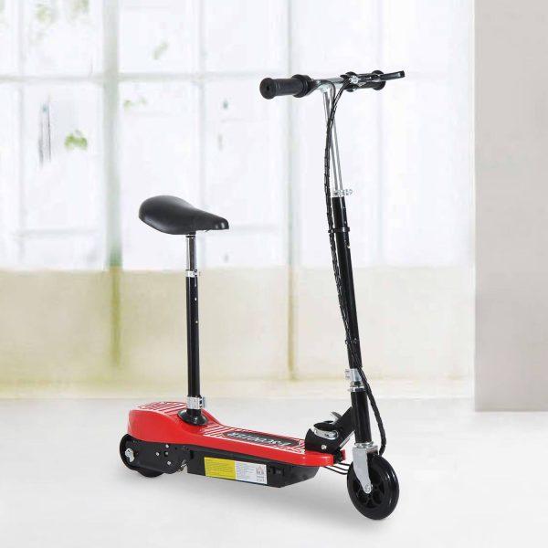 Trotinete Elétrica Dobrável E-Scooter Bateria 120 W Guiador Assento Ajustável Travão Pé de apoio Vermelho