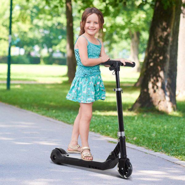 Trotinete Elétrica Scooter Trotinete com Guiador Ajustável Dobrável com Duplo Travão Carga 45kg - Negro - 70x11x70-84cm