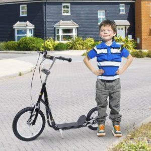 Trotinete com Guiador para Crianças e Adultos - Cor: Preto – 125 x 58 x 92-100 cm