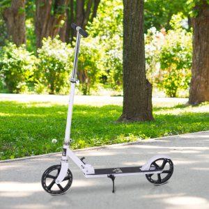 Trotinete dobrável para crianças acima de 5 anos de altura ajustável com freio 88x37x75-100 cm Branco