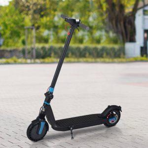 Trotinete elétrico dobrável para adultos com freio e luzes 104x44x116 cm Preto