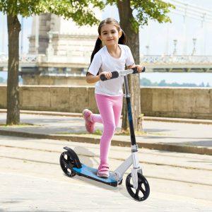 Trotinete para Crianças Scooter Dobrável Guiador Regulável Quadro Alumínio Leve e Estável Carga 100kg Branca - 68x34x60-73.5cm