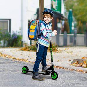 Trotinete para Crianças Scooter de Evolução Dobrável Guiador Regulável Quadro Alumínio Leve e Estável Carga 50kg Verde - 70x34x70-84cm