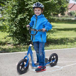 Trotinete para Crianças e Adultos Guiador Ajustável com Travão 2 Rodas 12 PulgadasCarga 100kg 120x52x80-88cm Aço