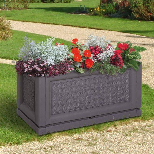 Vaso retangular para flores e legumes com orifícios de drenagem