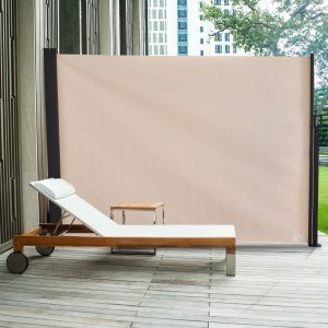 Toldo Lateral Retrátil para Terraço de Jardim ou Pátio Poliéster 350x180cm Marfim