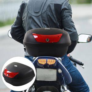 Tronco de motocicleta 48 L Capacidade Fechadura com duas chaves Acessórios 59x43x33 cm
