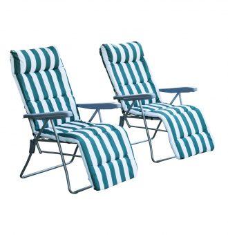 Conjunto de 2 Espreguiçadeiras Acolchoadas Dobráveis e Reclináveis com Descanso para os pés para Praia ou Campismo