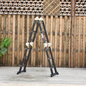 Escada multiuso dobrável 5 em 1 com 2 placas de alumínio 70x61x11 cm Preto