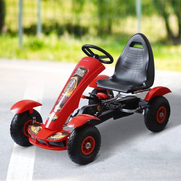 carro de pedais Go Kart de assento ajustável e freio para crianças 3-8 anos de carga 50 kg 80x49x50cm