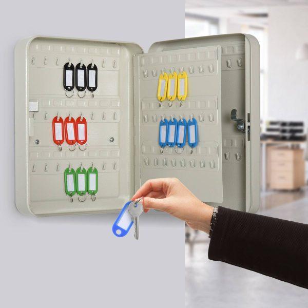 Armário de chaves com etiquetas de alta segurança de 93 ganchos 30x24x7.5 cm Bege