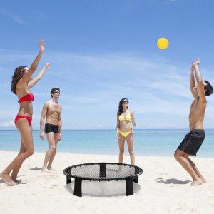 HOMCOM Conjunto de Mini Voleibol para 4 Jogadores de Spikeball Bolsa de Transporte Incluída