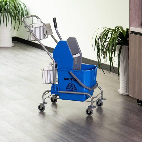 Balde de esfregona comercial com escorredor de rodas e capacidade de cestos de 26 L azul