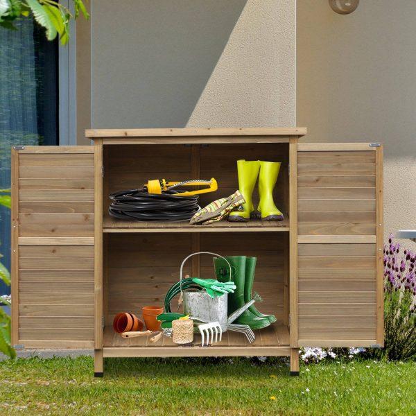 galpão de armazenamento ao ar livre para jardim de madeira 87x46.5x96.5 cm