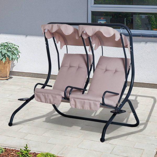 Outsunny Cadeira de Balanço Jardím e Terraço Quadro de Aço - 170x136x170cm