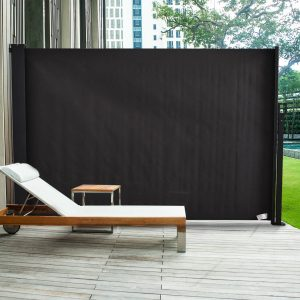 Toldo Lateral Retrátil para Terraço de Jardim ou Pátio Poliéster 350x180cm Cinza Escuro