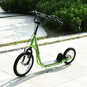 trotinete para crianças acima de 5 anos Guiador ajustável Rodas infláveis 135x58x88-94 cm Verde
