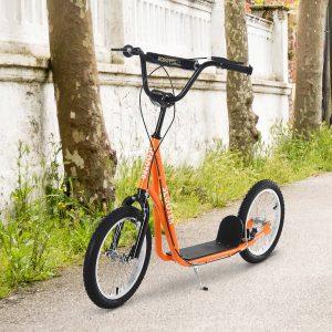 trotinete para crianças acima de 5 anos de altura ajustável com pneus Freio laranja